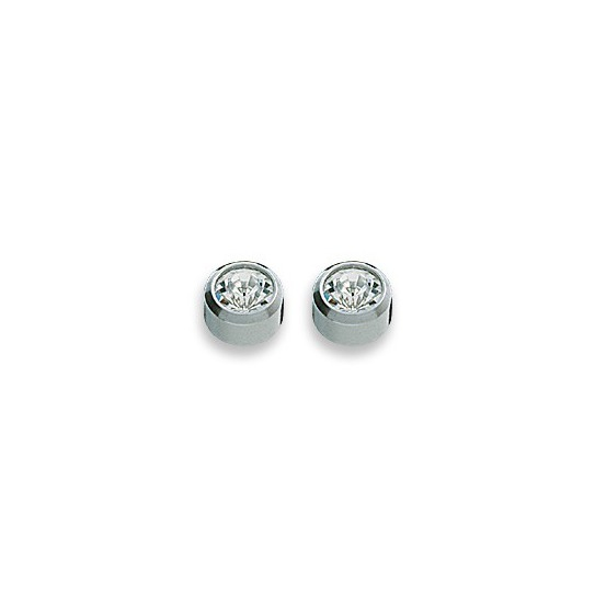 Kolczyki brylant w srebrnej oprawie 2 szt. R 204 W