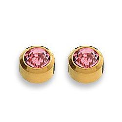 Kolczyki różowy cyrkon w złotej oprawie 2 szt. R 210 Y