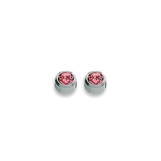 Kolczyki różowy cyrkon w srebrnej oprawie 2 szt. R 210 W