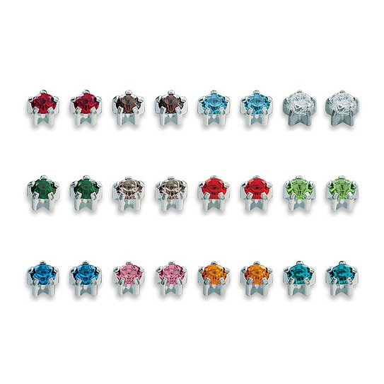 Zestaw kolczyków mini w srebrnych pazurkach M 113 W 12x2szt