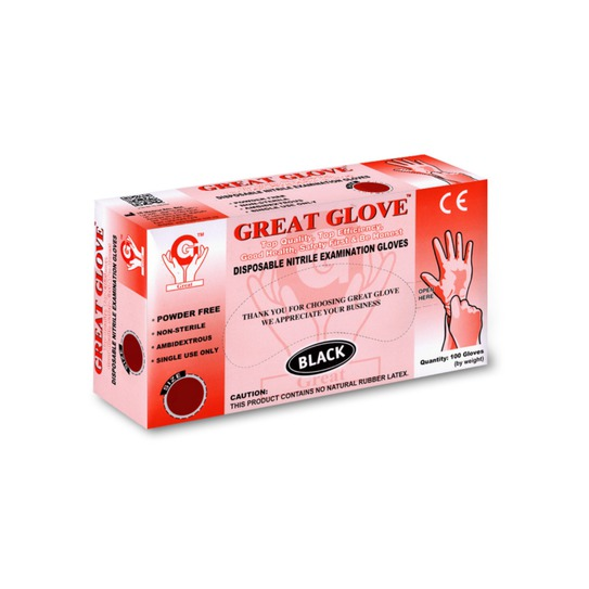 Rękawice nitrylowe bezpudrowe Great Glove rozm. S czarne