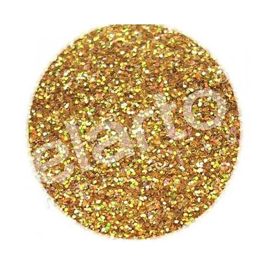 Brokat w fiolce - złoty hologramowy pyłek