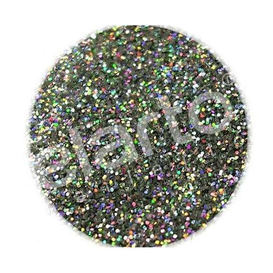 Brokat w fiolce - czarny hologramowy pyłek