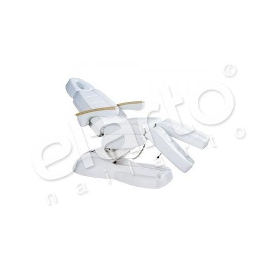 Elektryczny fotel kosmetyczny / pedicure z drewnianymi podłokietnikami biały
